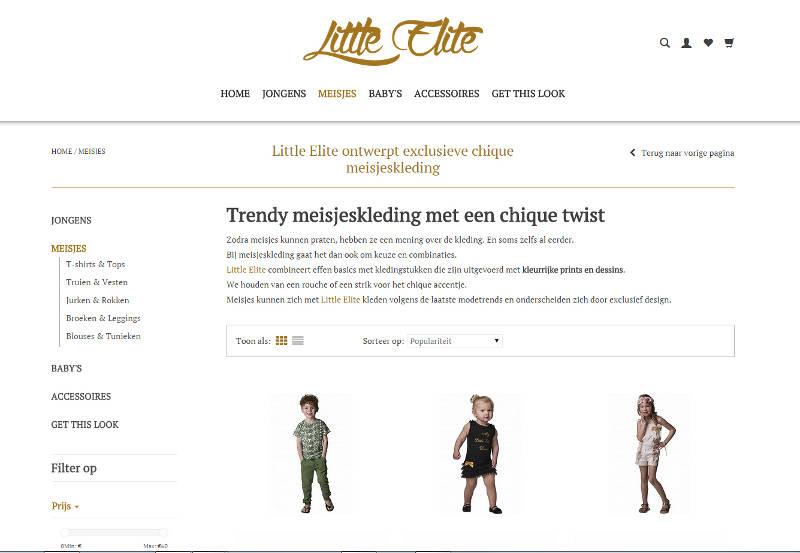 webteksten voor modemerk Little Elite
